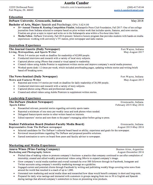 background resume austin candor
